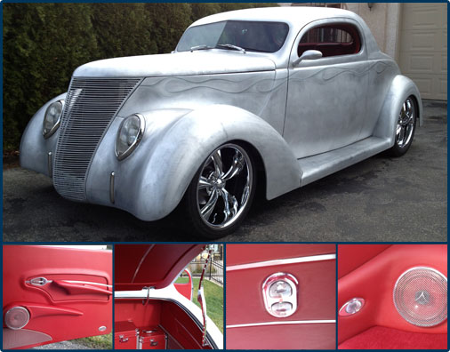 Picture of beautiful custom 1937 and several smaller images of interior parts within that car