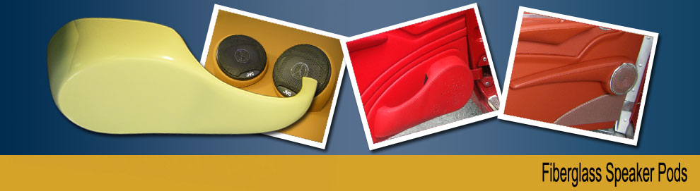 Several styles of fiberglass speaker pods